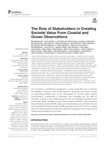The Role of Stakeholders in Creating Societal Value From Coastal and Ocean Observations