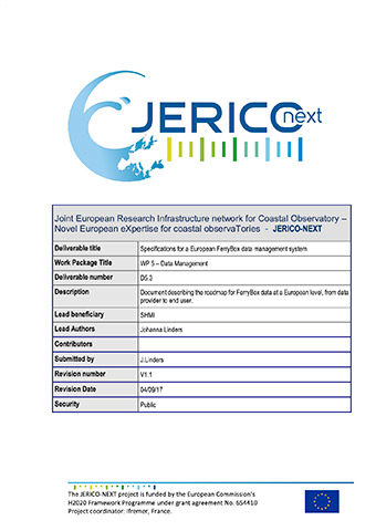 JERICO-NEXT D5.3 Specifications For A European FerryBox Data Management System 2017