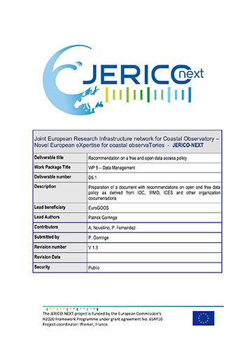 JERICO-NEXT D5.1 Recommendation On A Free And Open Data Access Policy 2017