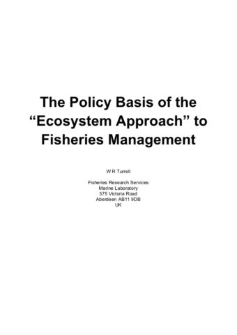 """Policy Basis of the """"Ecosystem Approach"""" to Fisheries Management"""