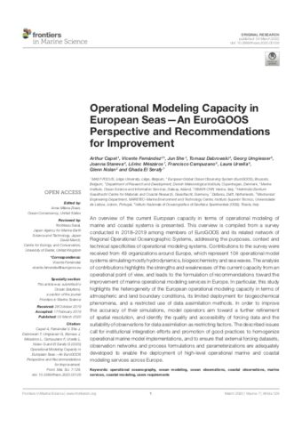 Operational Modeling Capacity in European Seas— A EuroGOOS Perspective and Recommendations for Improvement